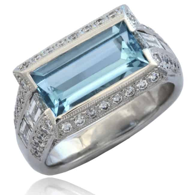 Aquamarine & Diamond Ring 20-606 Image