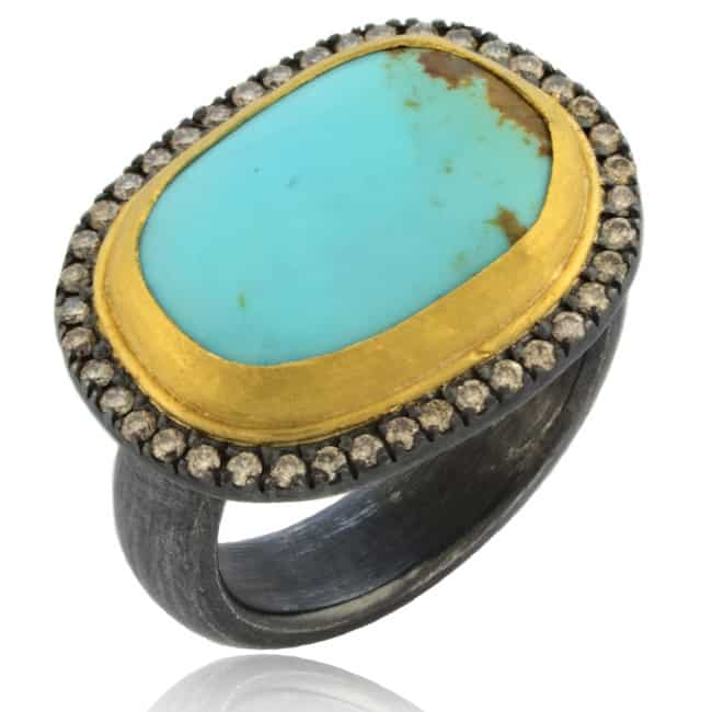 Turquoise & Diamond Ring 20-635 Image