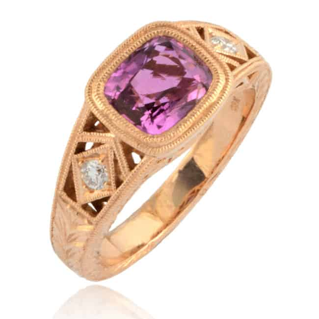 Pink Sapphire Ring set in Rose Gold Image