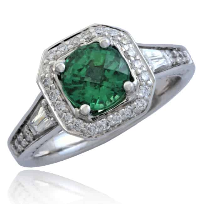 Tsavorite & Diamond Ring 20-637 Image