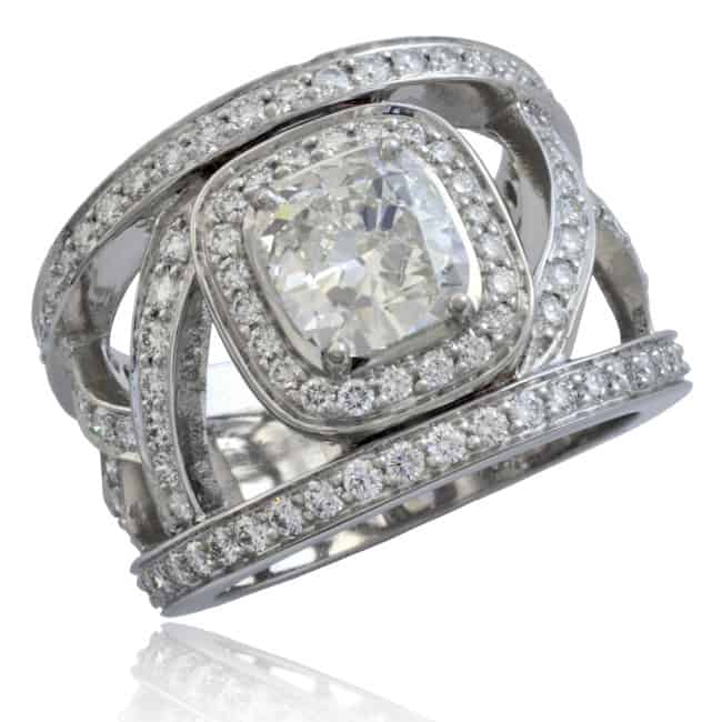 """French"" Openwork Diamond Ring 23-788 Image"