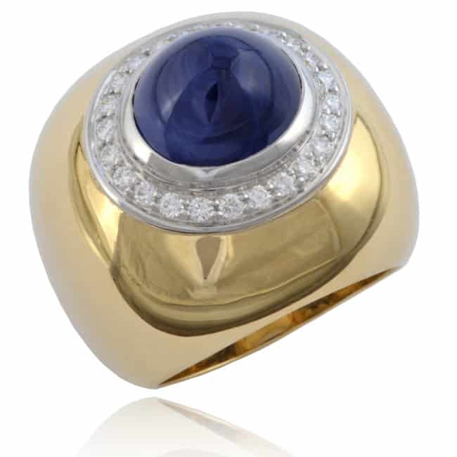 High Dome Sapphire & Diamond Ring 23-687 Image