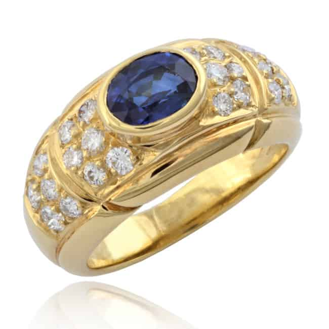 Oval Faceted Sapphire & Diamond Ring Image