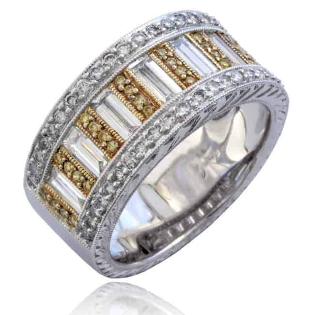 Fancy Yellow & Baguette Diamonds Ring 12-745 Image