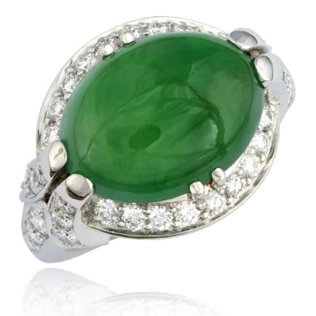 Cabochon Jade & Diamond Ring 23-805 Image