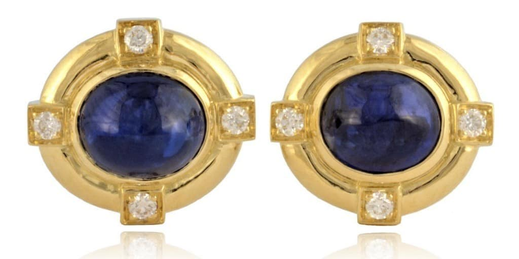 Oval Sapphire & Small Diamond Earrings Image