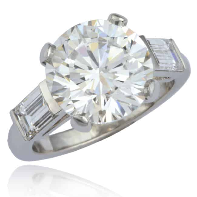 Round & Baguette Diamond Engagement Ring 23-932 Image