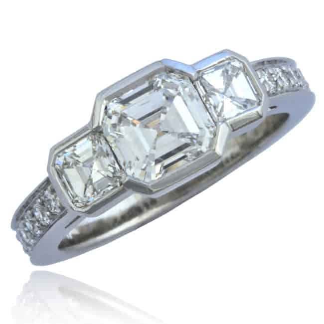 Three Square Diamonds Engagement Ring Image