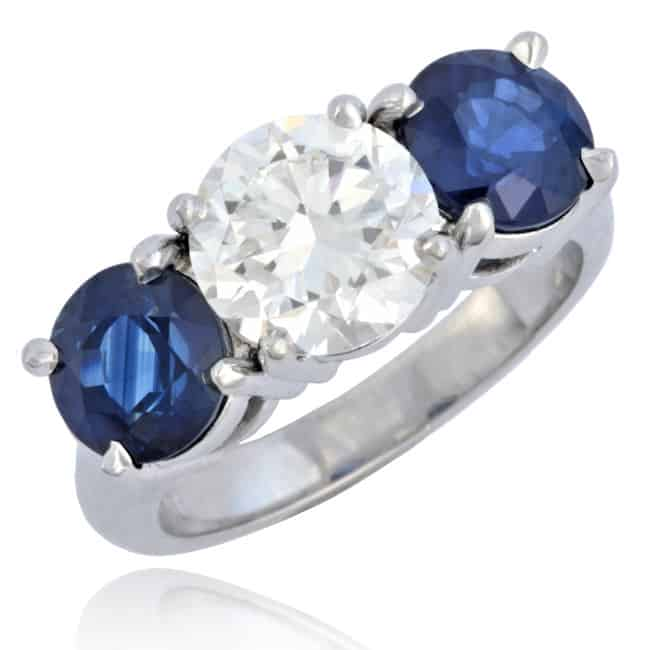Diamond & Sapphire Ring set in Platinum 1-1513 Image