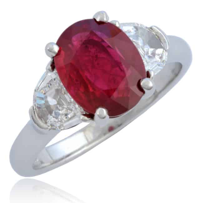 Oval Red Ruby & Diamond Ring Image