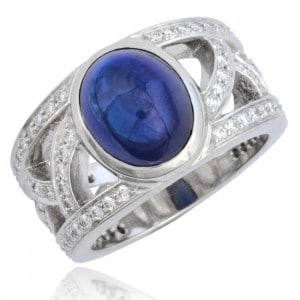 """""""French"""" Openwork Cabochon Sapphire & Diamond Ring Image"""