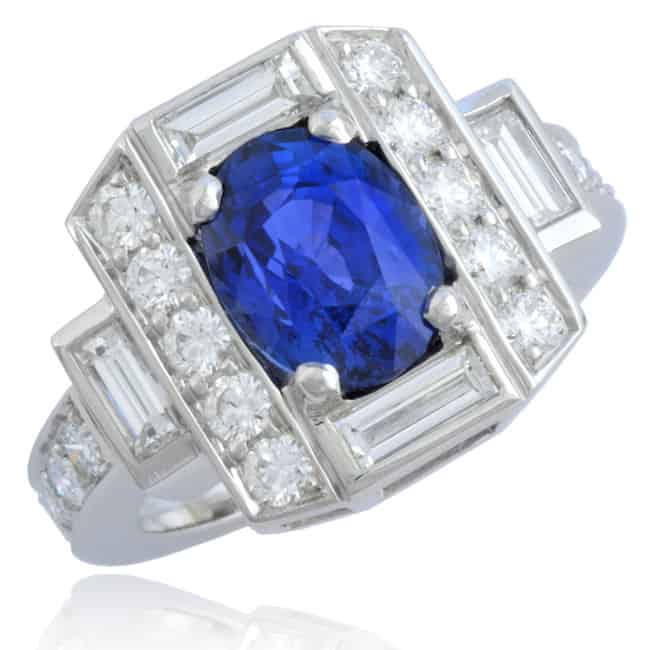 Natural Blue Oval Sapphire Ring 23-835 Image