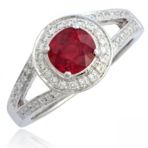 Red Ruby & Diamond Engagement Ring Image