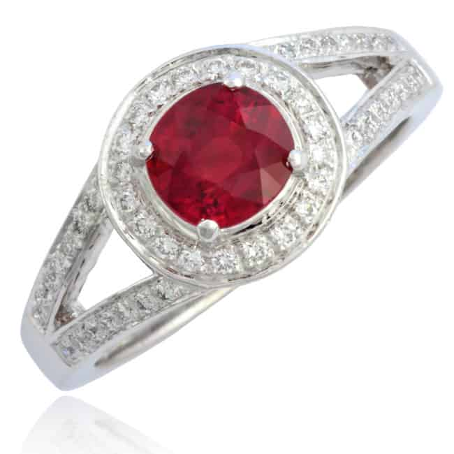 Red Ruby & Diamond Engagement Ring 4-790 Image