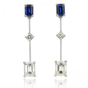 Emerald-cut Diamond and Sapphire Earrings Image