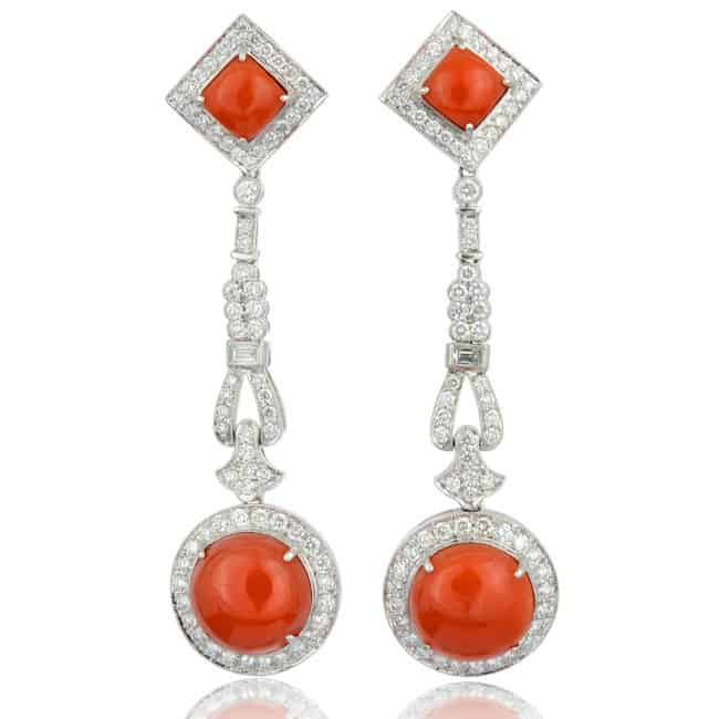 Coral & Diamond Drop Earrings Image