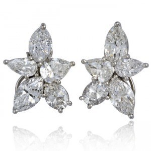 Platinum Diamond Cluster Earrings Image