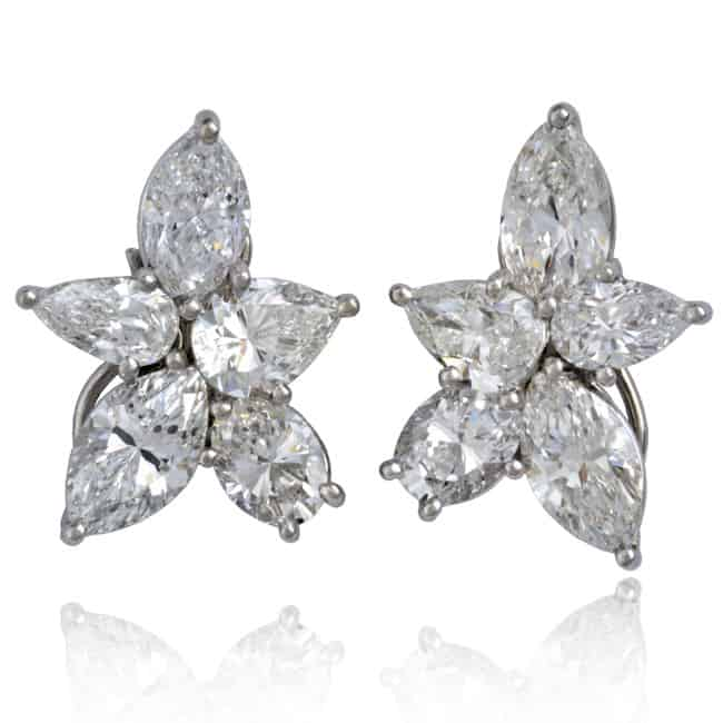 Platinum Diamond Cluster Earrings 30-724 Image