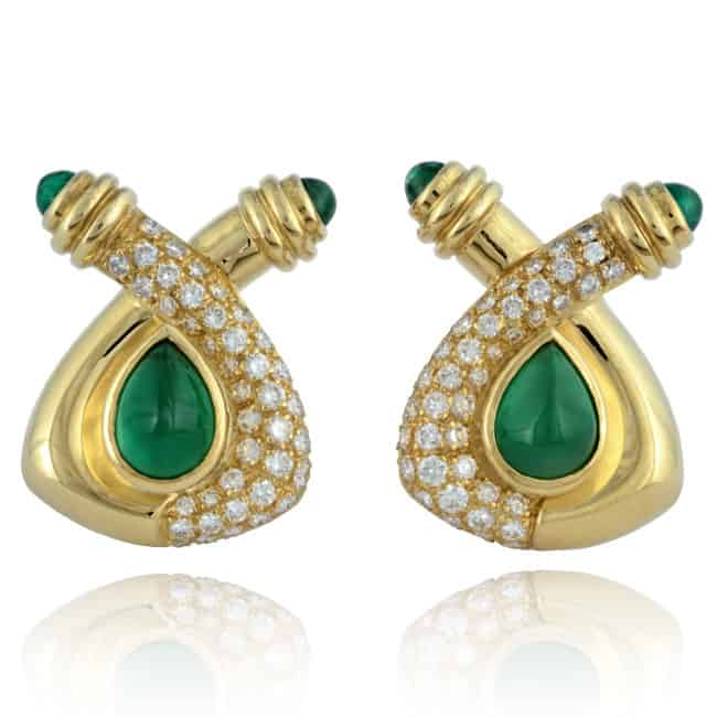 18ky Emerald & Diamond Earrings 30-903 Image