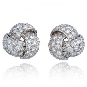 Platinum Knot Design Diamond Earrings Image