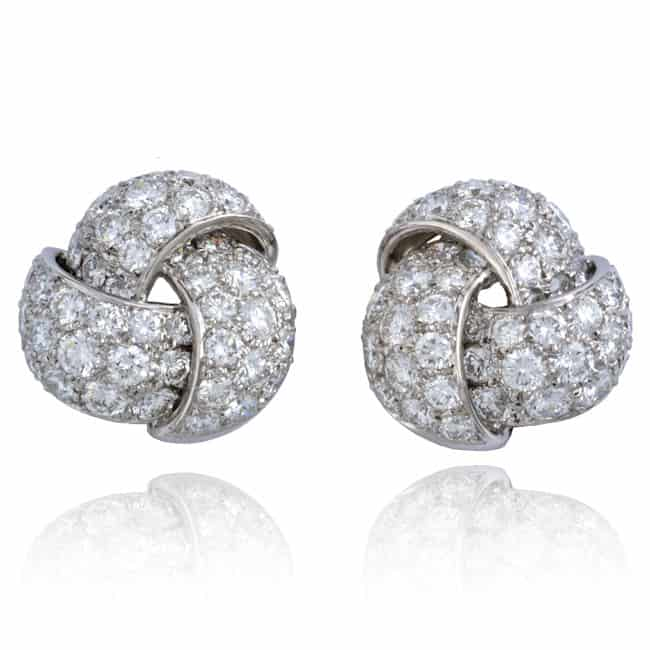 Platinum Knot Design Diamond Earrings 7-300 Image