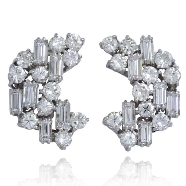 Vintage Diamond Cluster Earrings 7-314 Image