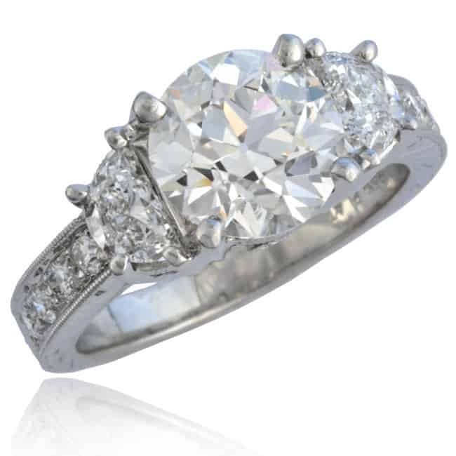 Engagement Ring with Half-moon cut Diamonds 1-1283 Image