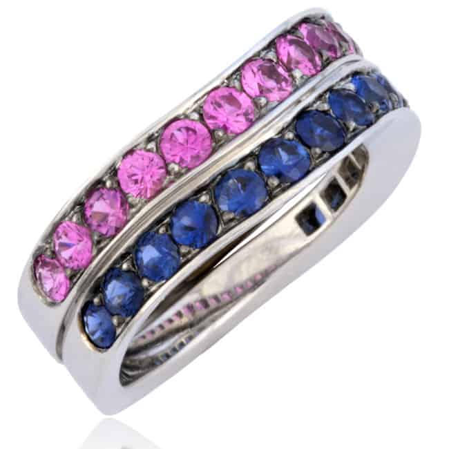 Wave-Design Sapphire Stackable Rings 12-611 Image