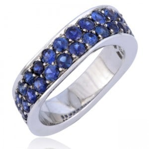 Wave-Design Sapphire Stackable Ring Image
