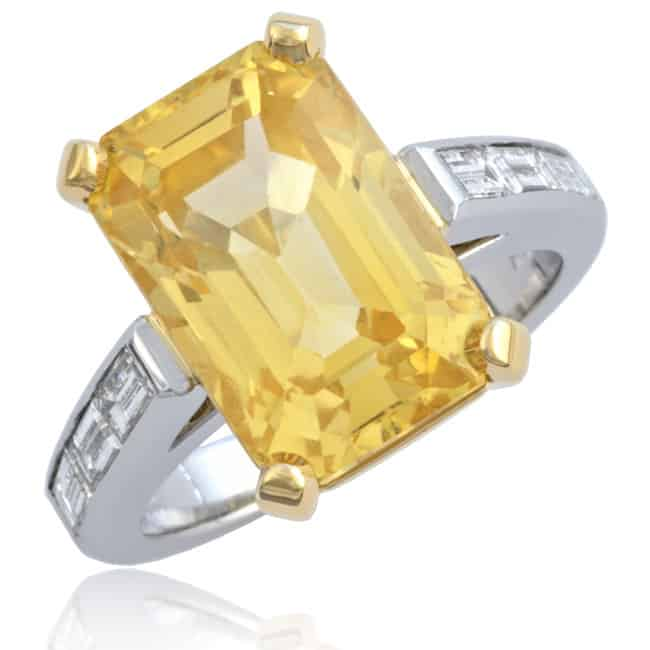 Fancy Yellow Sapphire & Diamond Ring 23-887 Image