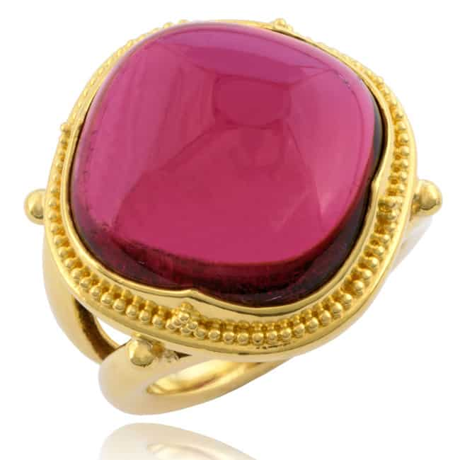 "Red Tourmaline Ring, ""Etruscan"" design 20-557 Image"