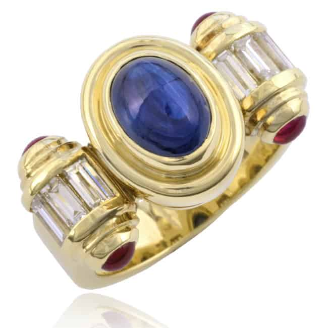 Cabochon Sapphire scroll design ring 23-195 Image