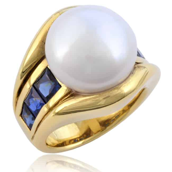 Freshwater Pearl & Sapphire Ring 23-401 Image