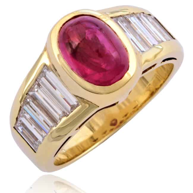 Red Ruby & Diamond Ring 4-763 Image