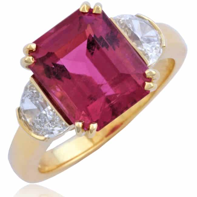 Pink Tourmaline Ring with Half-Moon cut Diamonds 23-950 Image