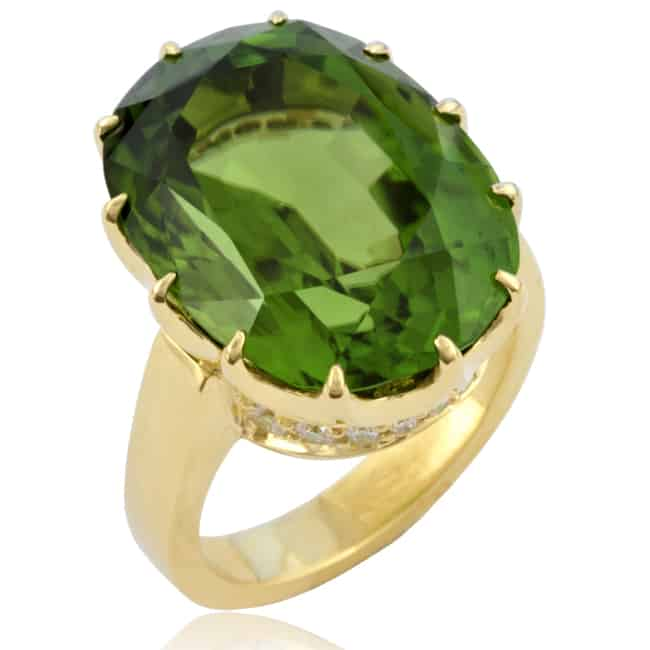 Green Peridot & Diamond Ring 23-951 Image
