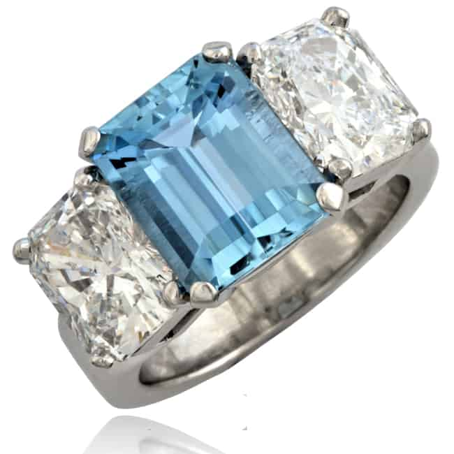 Custom Aquamarine & Diamond Ring #Spec4 Image