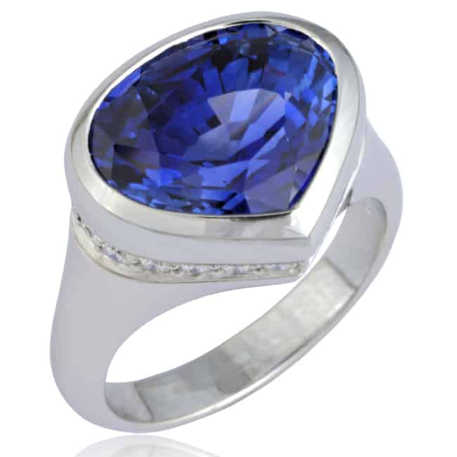 Specialty cut Blue Sapphire Ring 23-961 Image