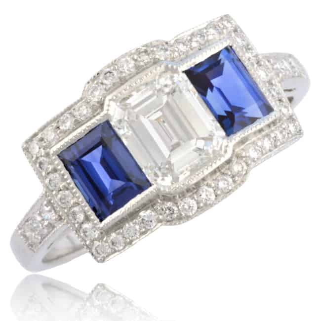 Emerald-cut Diamond & Sapphire Engagement Ring 1-1301 Image