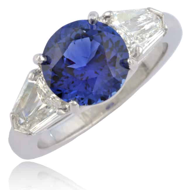 Sapphire & Shield-cut Diamond Ring 23-815 Image