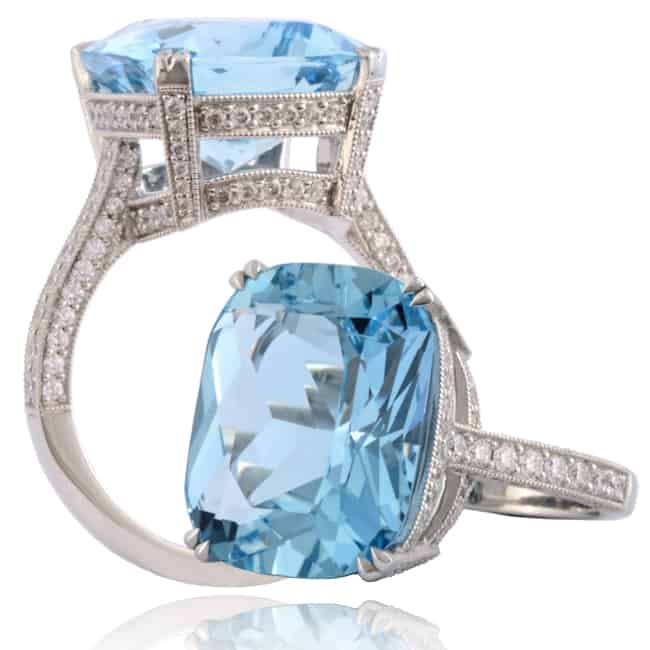 Blue Aquamarine & Diamond Ring 23-946 Image