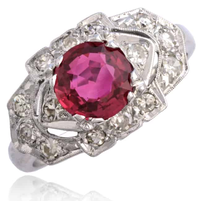 Red Ruby & Diamond Ring 6-361 Image