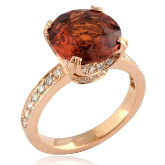 Hessonite & Diamond Ring 23-884 Image