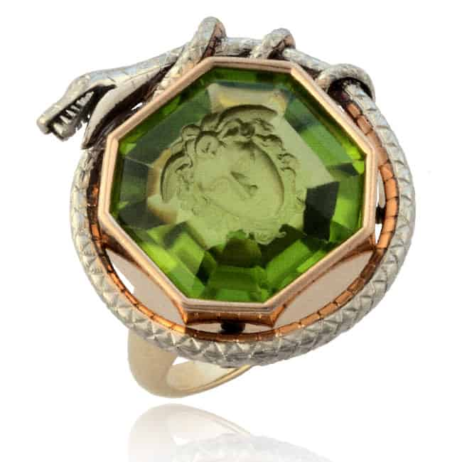 Carved Medusa Green Peridot Ring 30-703 Image