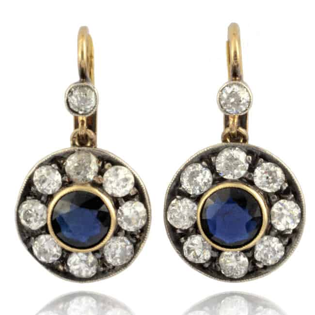 Late Victorian Blue Sapphire & Diamond Earrings 7-265 Image